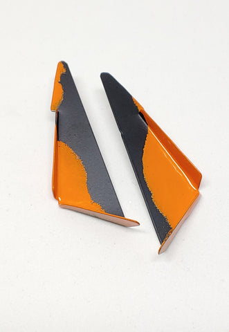 Copy of Edge Triangle Earrings in Orange