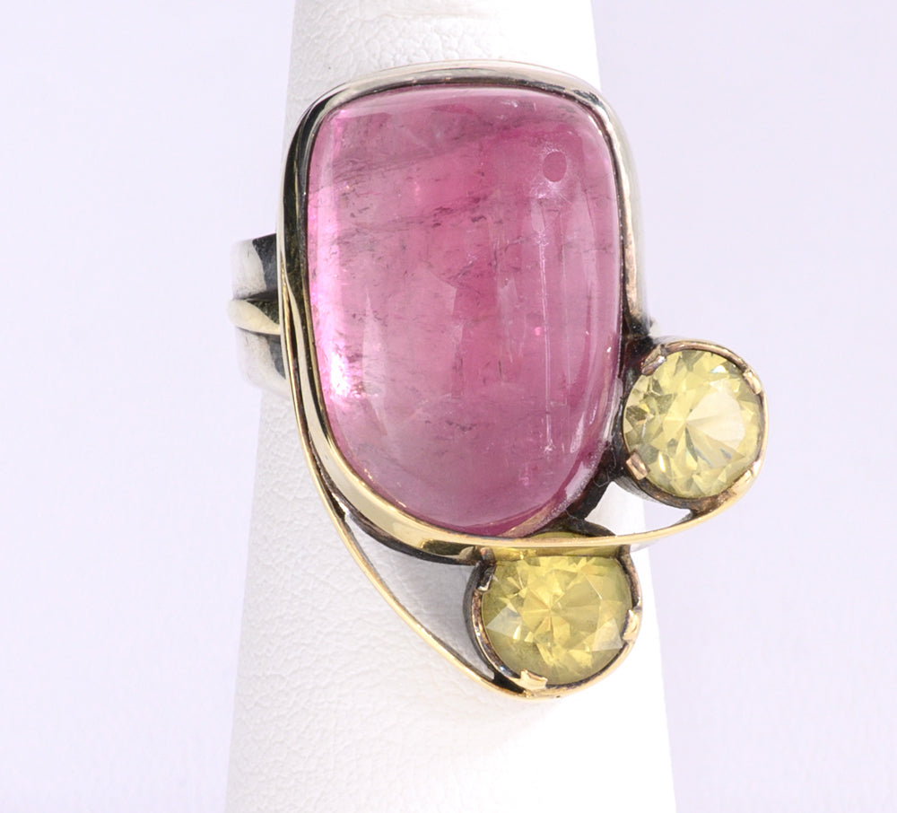 Pink Cabochon Tourmaline and Yellow Beryl Ring