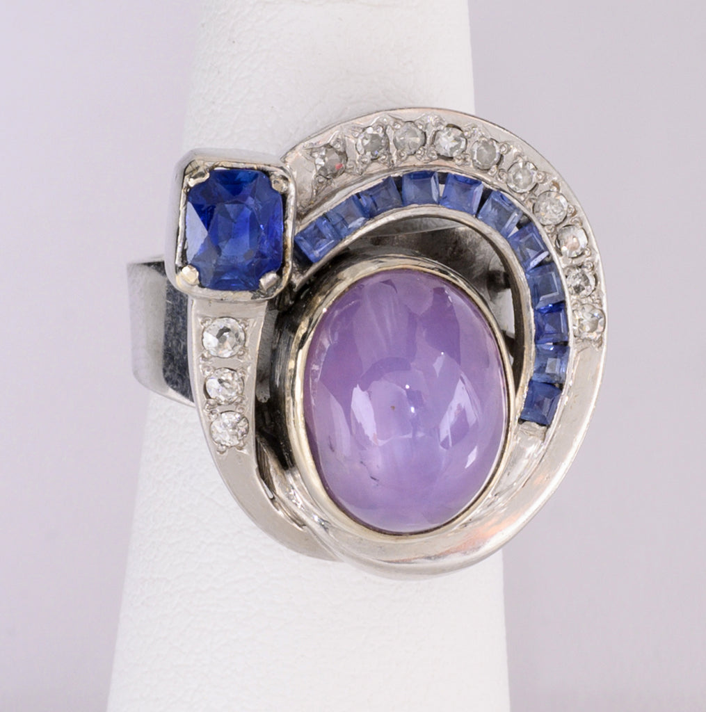 Natural Violet Star Sapphire Ring