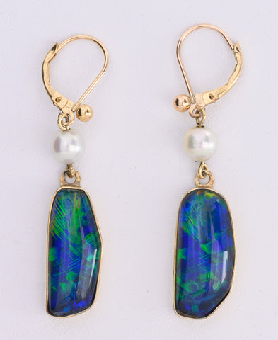 Opal Doublet and Cultured Pearl Earrings