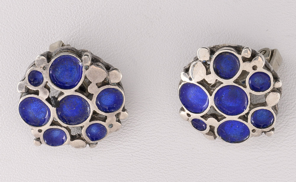 Button Earrings with Blue Enamel Circles