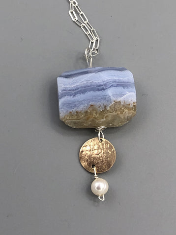 Blue Lace Agate and Gold Necklace