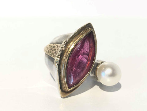 Tourmaline and Pearl Ring
