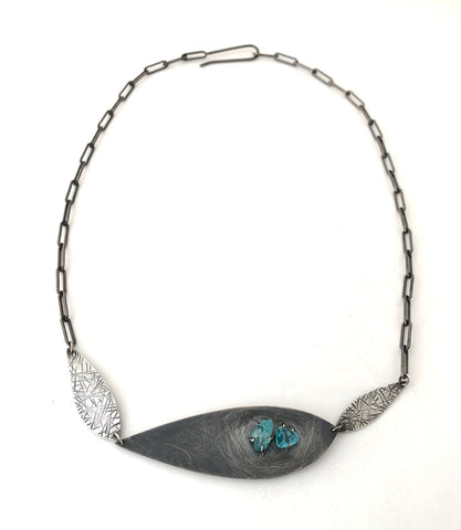 Triple Feather Necklace with Apatite
