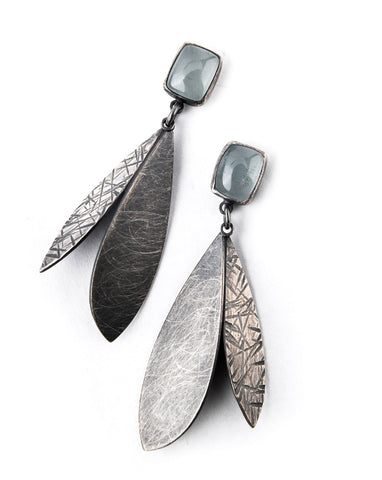 Feathers with Aquamarine Earrings