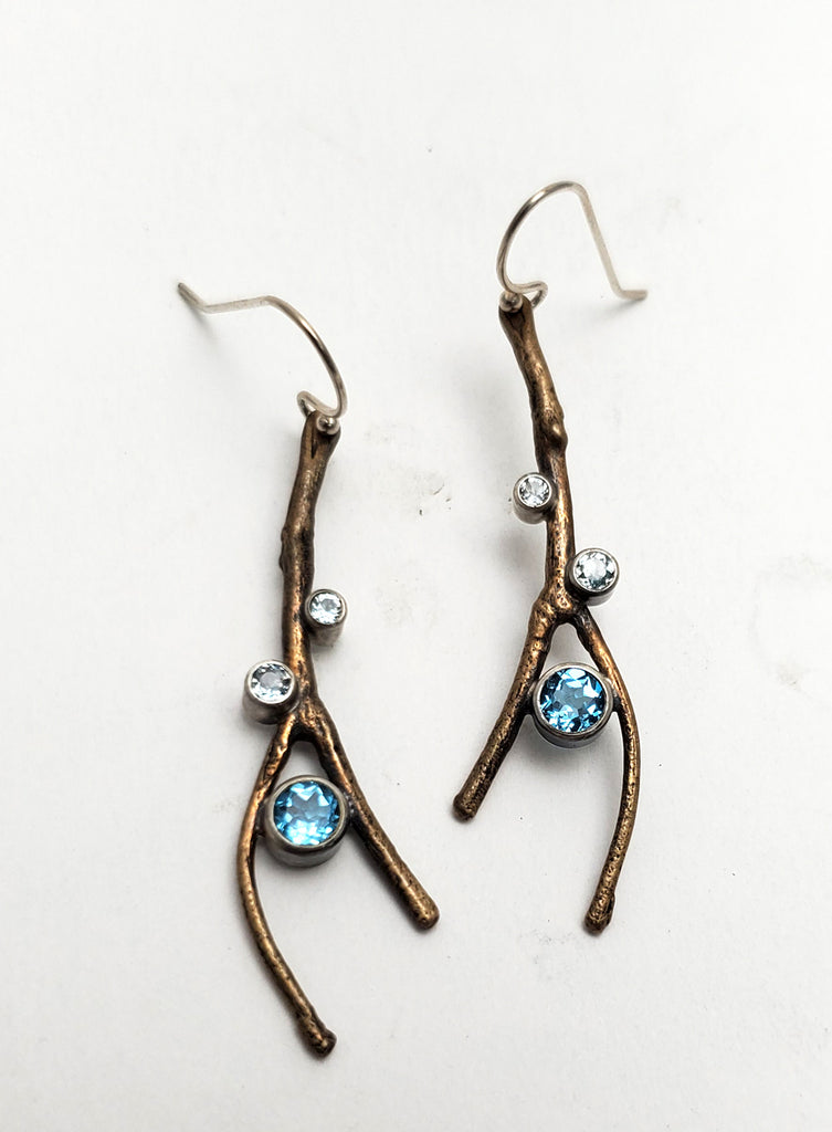 Twig and Topaz Earrings