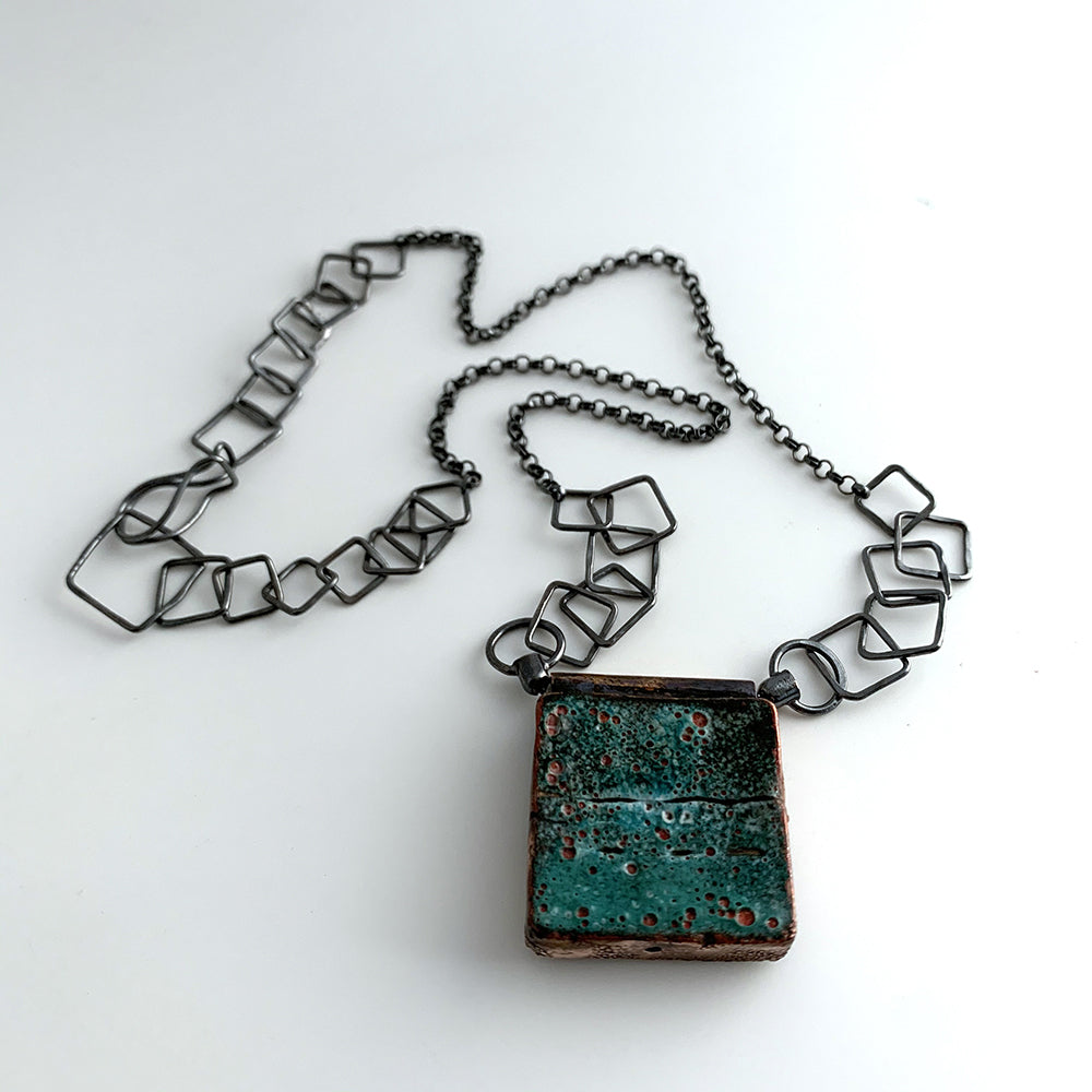 Blue/Green Square Hollow Necklace