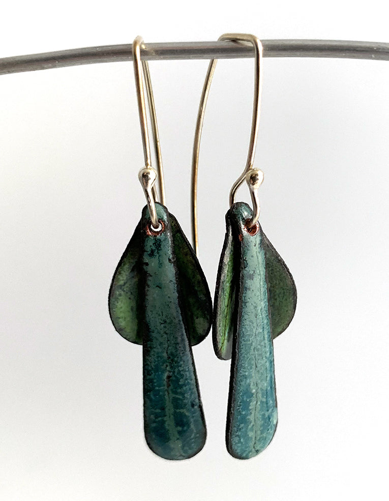 Blue and Green Leaf Earrings