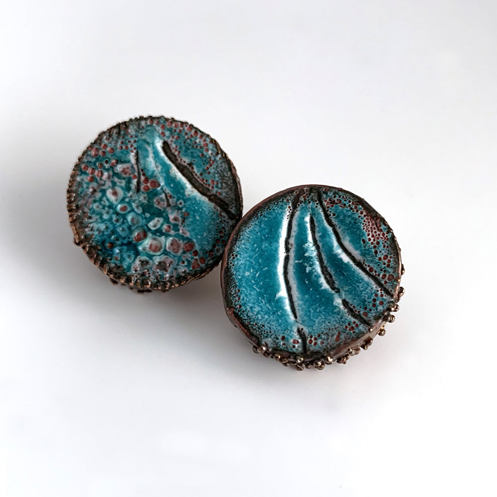 Large Round Blue Post Earrings
