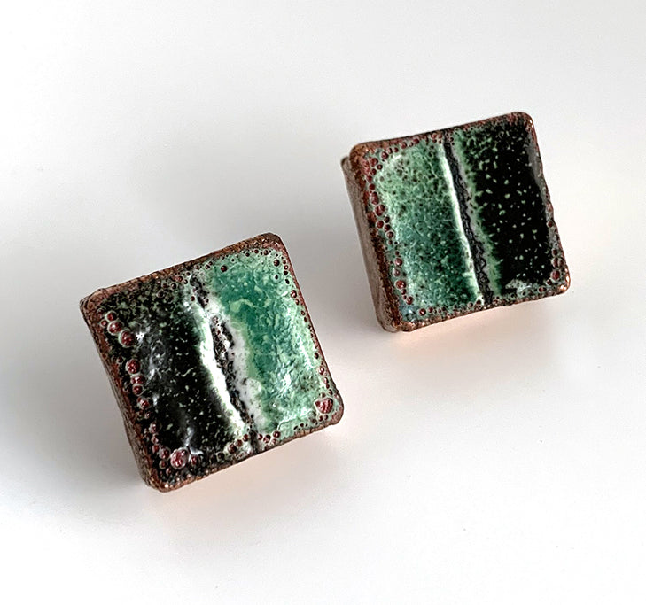 Green and Black Square Post Earrings