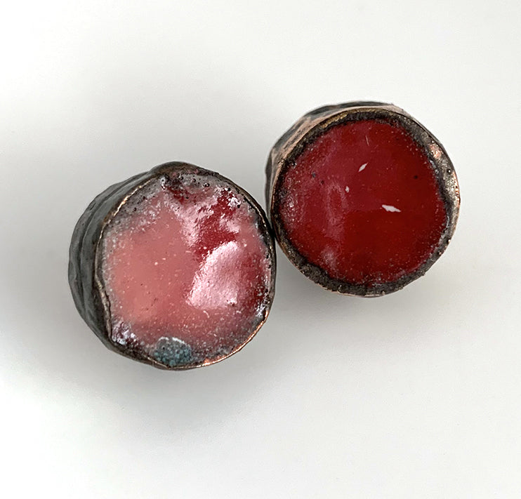 Small Round Red Post Earrings