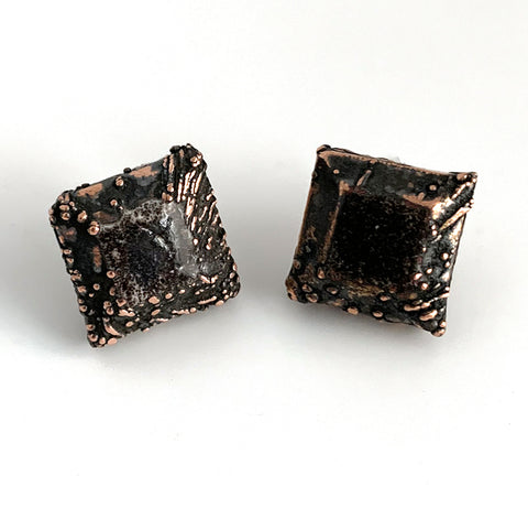 Copper Gem Post Earrings