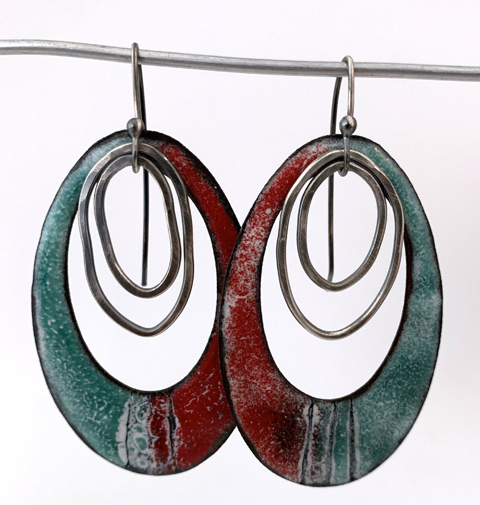 Large Red and Teal Earrings