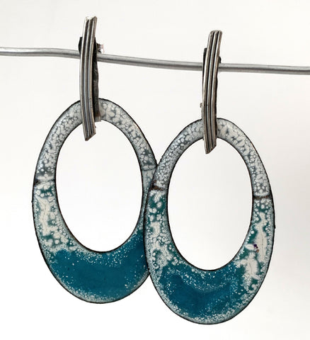 Large Teal and White Oval Earrings