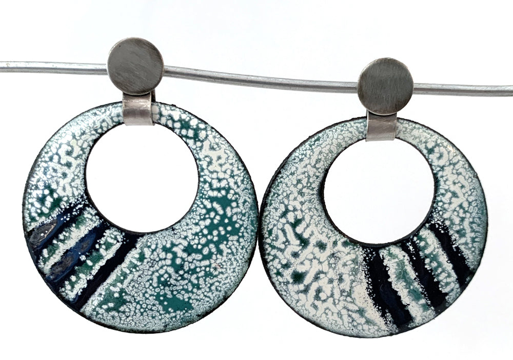 Round Teal and White Post Earrings