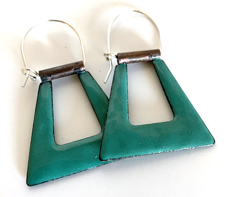 Teal Geometric Hoop Earrings