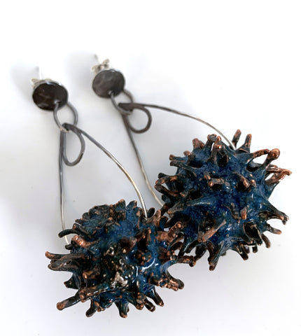 Electroformed Sweet Gum Seed Pod Earrings