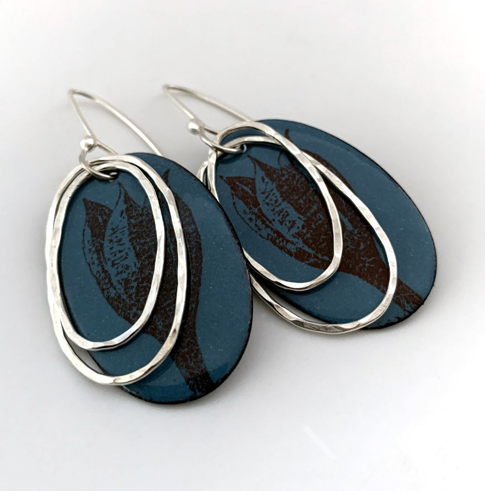 Blue Lily Seed Pod Earrings