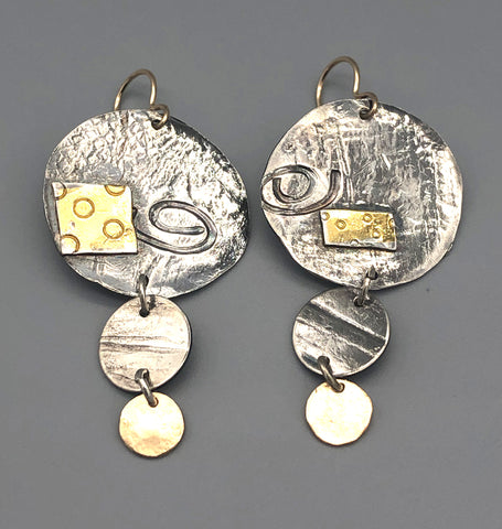 Textured Gold and Silver Three Drop Earrings