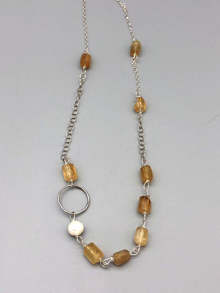 Citrine Mixed Media Necklace