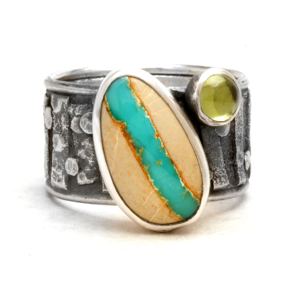 Turquoise and Peridot Ring