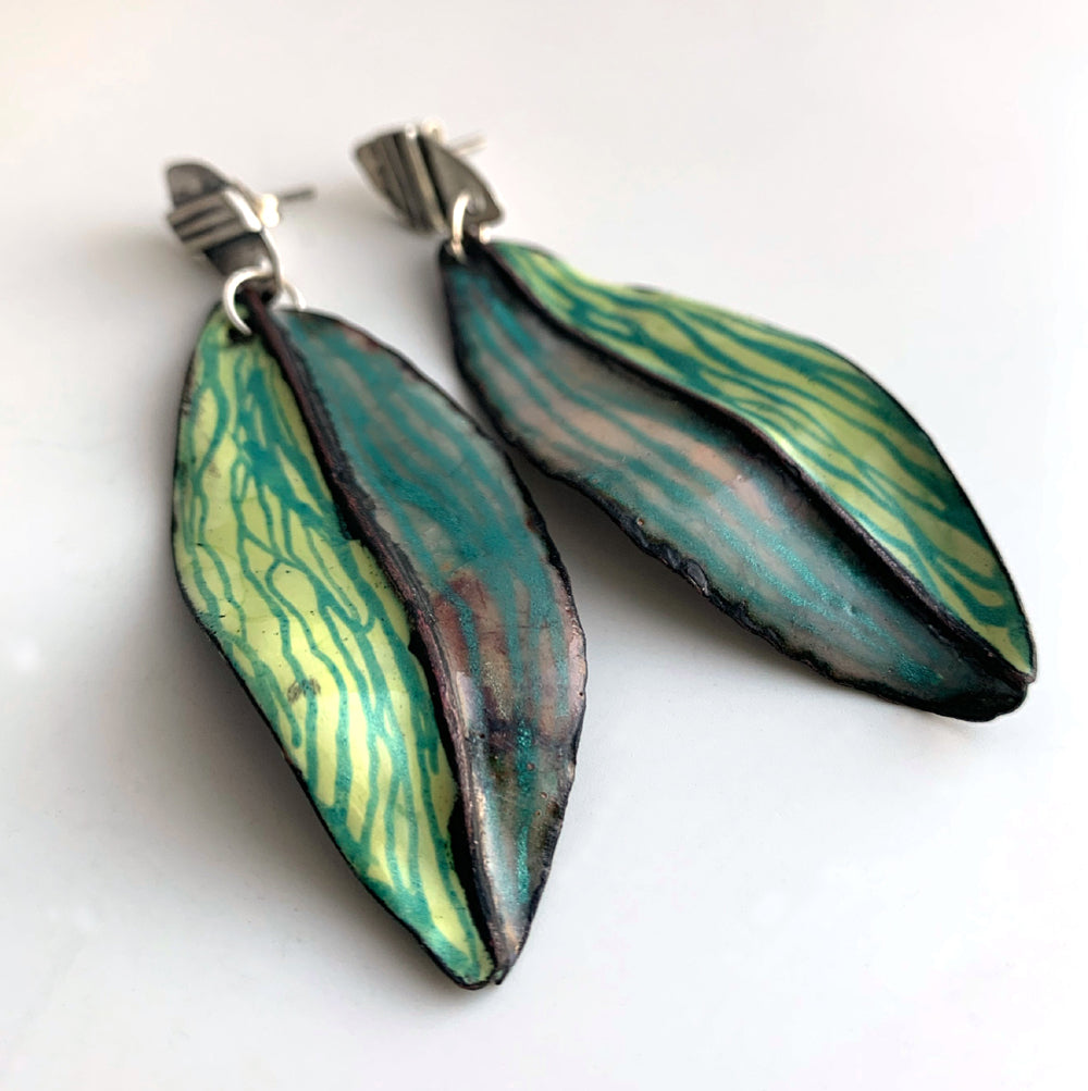 Large Green Leaf Post Earrings