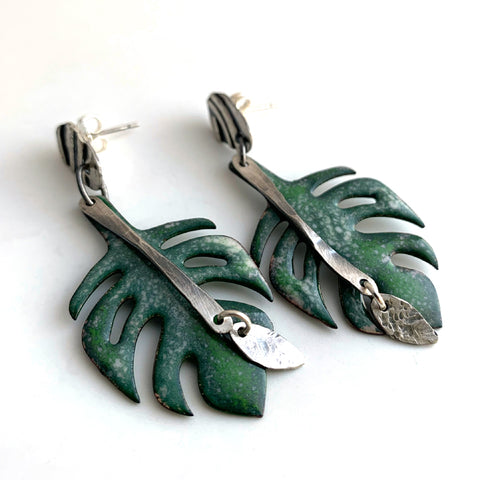 Monstera Post Earrings