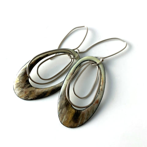 Cream Oval Earrings