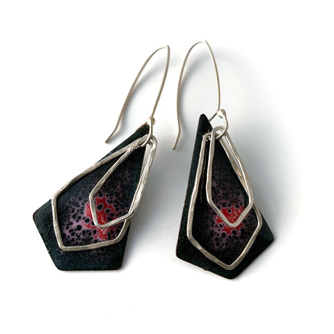 Red Diamond-Shaped Earrings