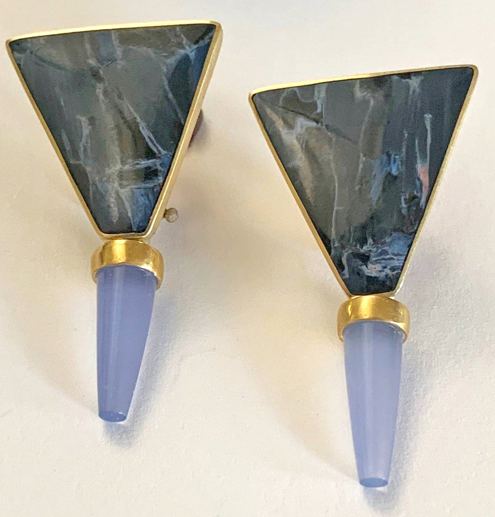 Earrings with Pietersite and Chalcedony