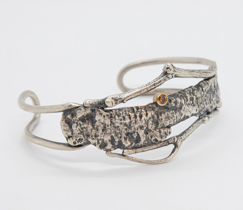 Twig Bark Cuff Bracelet with Orange Diamond