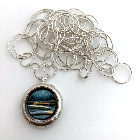 Small Seascape Pocket Watch Necklace