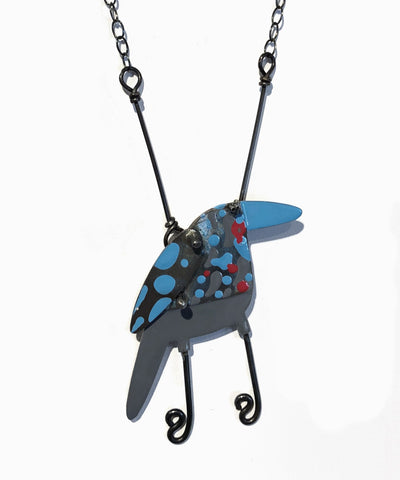 Winged Blue Starling Necklace