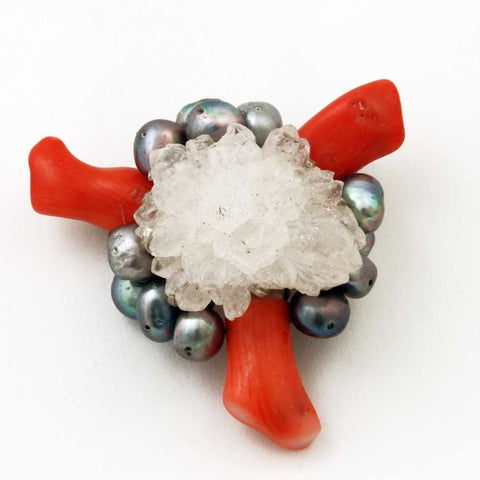 Pin: Coral, quartz crystal, sterling silver, and grey pearls