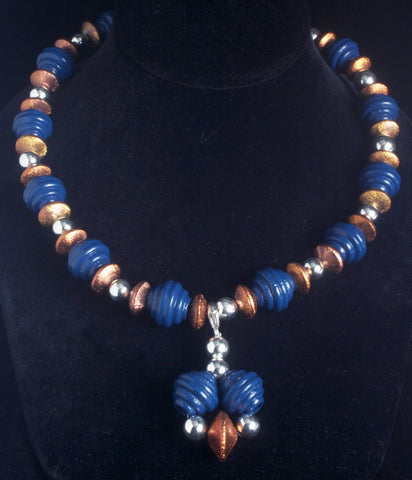 Wood, Copper, and Sterling Beads Pendant
