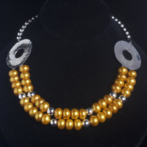 Yellow Pearls with Hammered Sterling Silver Disks Necklace
