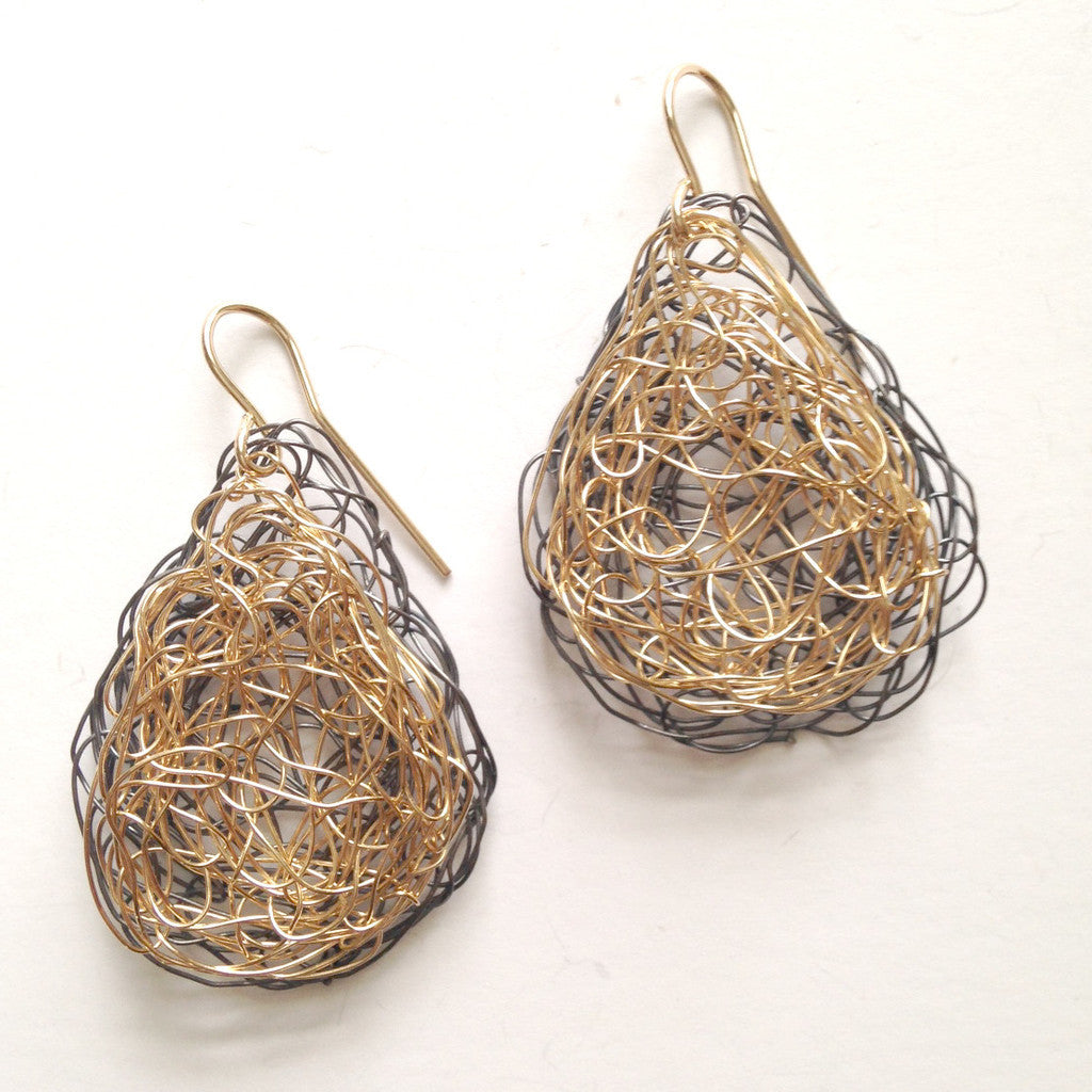 Large Tear Earrings in Oxidized Silver and Gold Fill