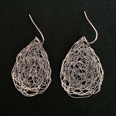 Small Tear Shaped Earrings in Sterling Silver