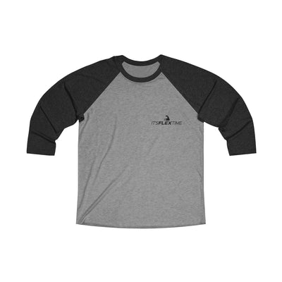 "Signature ""It'sFlexTime"" 3/4 Sleeve Baseball Tee (Black Logo)"