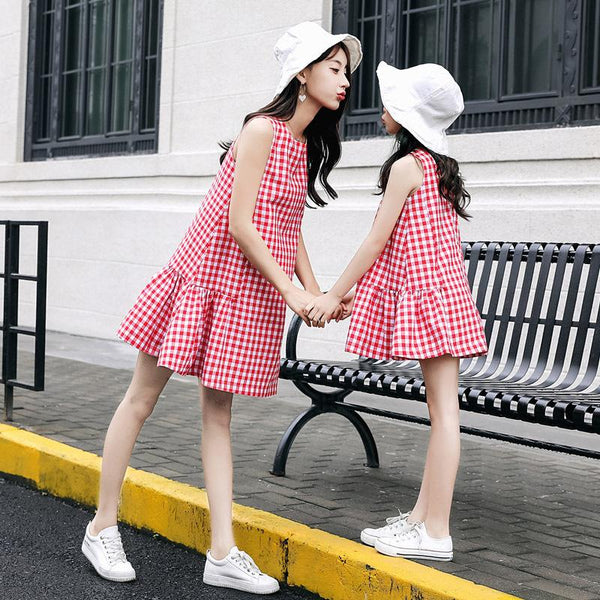 Red Drop Waist Checkered Dress
