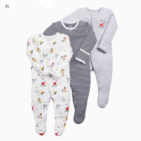 Mamas & Papas Sleepsuits - Tractors (Pack of 3)