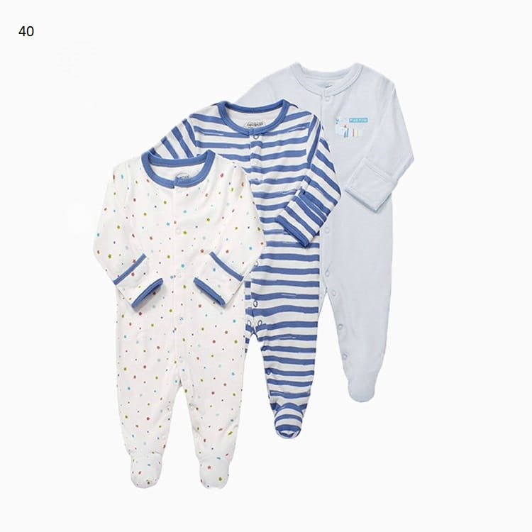 Mamas & Papas Sleepsuits - Blue Striped & Polka Dot (Pack of 3)