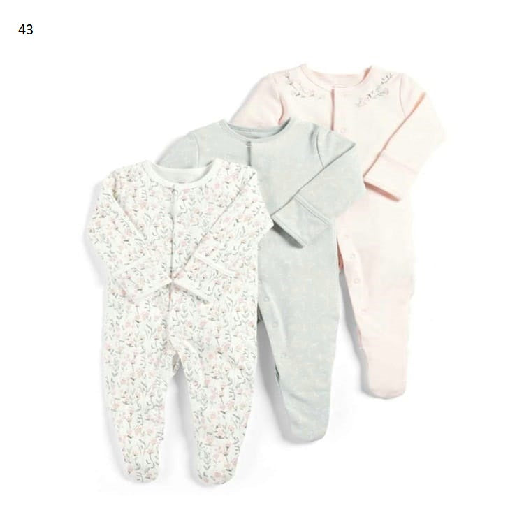Mamas & Papas Sleepsuits - Leaves (Pack of 3)