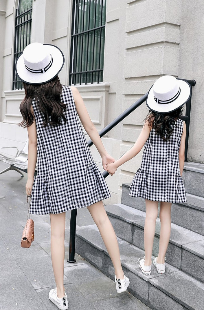 Black Drop Waist Checkered Dress
