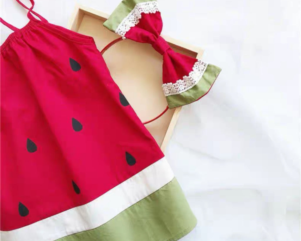 Watermelon Spaghetti Dress Set