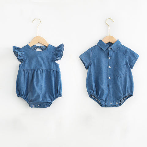 Matching Denim Sibling Romper