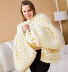 Coarse wool hand knitted blanket