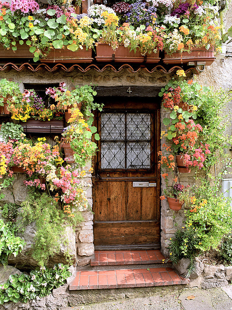 European Photo Of Door Surrounded By Flowers In AntibesProvence