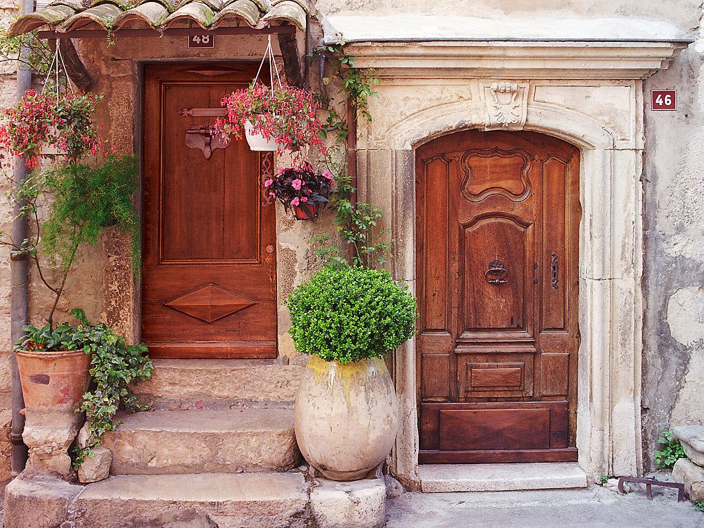 Medieval Doors- Vence(Provence) France & European photo of doors and flowers in Vence(Provence) France by ...