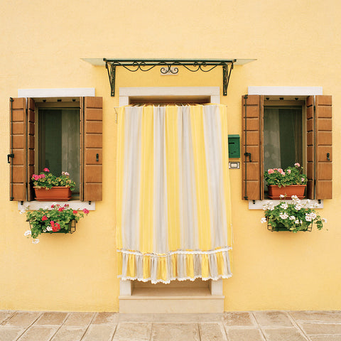 Yellow Striped Curtain- Burano, Italy